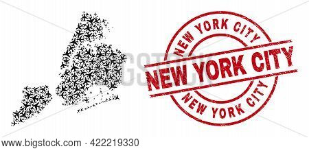 New York City Textured Seal, And New York City Map Mosaic Of Jet Vehicle Elements. Mosaic New York C