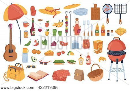 Picnic Elements Set Isolated Cartoon Icons. Grill And Umbrella, Food Drinks, Grilling Equipment. Gui