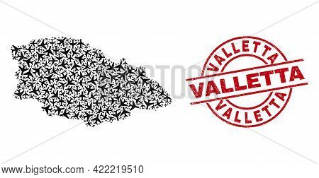Valletta Distress Seal, And Gozo Island Map Mosaic Of Aeroplane Items. Mosaic Gozo Island Map Constr