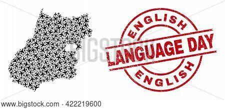 English Language Day Grunged Badge, And Goias State Map Mosaic Of Jet Vehicle Items. Mosaic Goias St