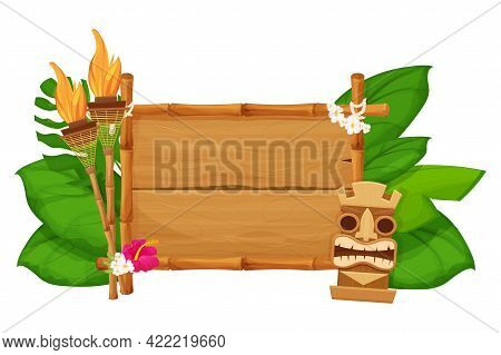 Tiki Tribal Hawaiian Mask, Statuette With Human Face On Bamboo Wooden Frame With Torch In Cartoon St