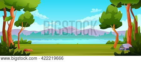Landscape River Bank, Mountains Beautiful Scenery Background. Trees And Bushes In Forest, Green Gras