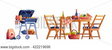 Bbq, Table With Food And Drinks Isolated. Served Desk With Fruits And Vegetables, Hamburger, Wine An