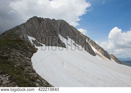 View Of The Summit Of Mount Terminillo With Many Snow In The Spring Season, Lazio