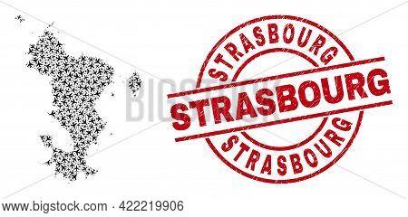 Strasbourg Grunge Badge, And Mayotte Islands Map Mosaic Of Aircraft Elements. Mosaic Mayotte Islands