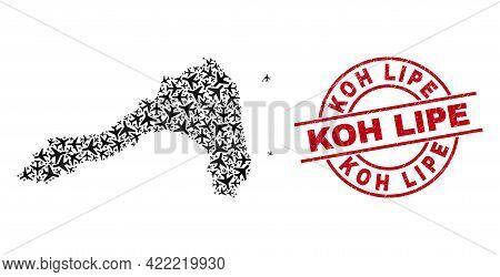 Koh Lipe Grunge Badge, And Koh Lipe Map Mosaic Of Air Force Items. Mosaic Koh Lipe Map Constructed U