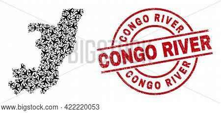 Congo River Distress Badge, And Republic Of The Congo Map Mosaic Of Airliner Elements. Mosaic Republ