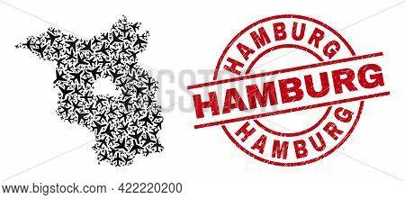 Hamburg Grunged Seal Stamp, And Brandenburg Land Map Collage Of Jet Vehicle Items. Collage Brandenbu