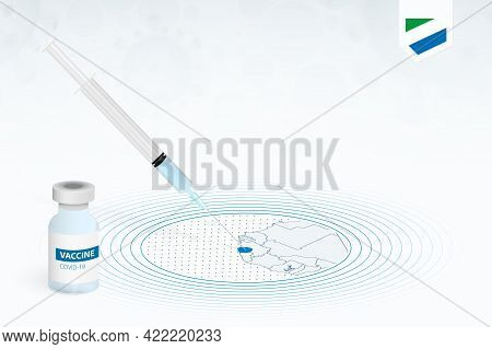 Covid-19 Vaccination In Sierra Leone, Coronavirus Vaccination Illustration With Vaccine Bottle And S