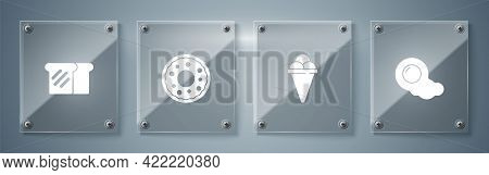 Set Scrambled Eggs, Ice Cream In Waffle Cone, Donut And Bread Toast. Square Glass Panels. Vector