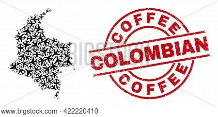 Coffee Colombian Grunge Seal Stamp, And Colombia Map Mosaic Of Airliner Items. Mosaic Colombia Map C