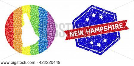 Dot Rainbow Gradiented Map Of New Hampshire State Collage Formed With Circle And Cut Out Shape, And