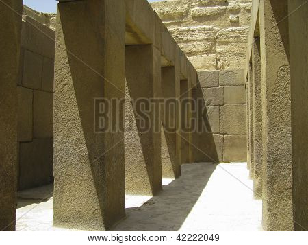 attached to each pyramid construction Call valley temple beside Pyramid of Khafre