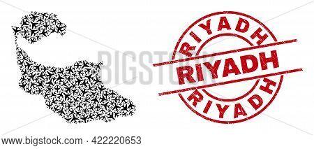 Riyadh Rubber Seal, And Tiran Island Map Collage Of Airliner Elements. Collage Tiran Island Map Desi