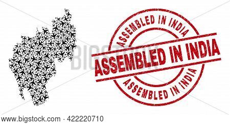 Assembled In India Distress Badge, And Tripura State Map Collage Of Airplane Elements. Collage Tripu