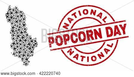 National Popcorn Day Grunge Badge, And Albania Map Collage Of Jet Vehicle Items. Collage Albania Map