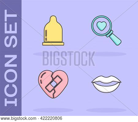 Set Smiling Lips, Condom, Healed Broken Heart And Search And Love Icon. Vector