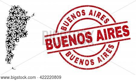 Buenos Aires Rubber Seal, And Argentina Map Collage Of Jet Vehicle Items. Collage Argentina Map Cons