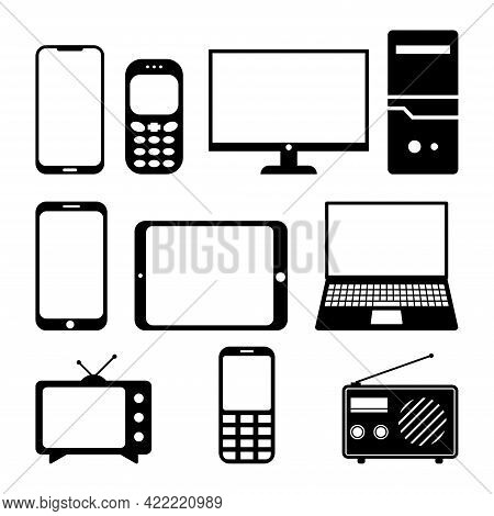 Electronics And Devices Related Icon Set. Mobile Phones, Laptop, Tablet, Monitor, Computer, Televisi