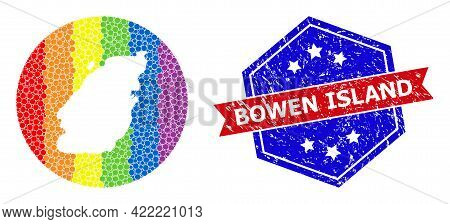 Dot Spectrum Map Of Bowen Island Collage Designed With Circle And Hole, And Scratched Watermark. Lgb