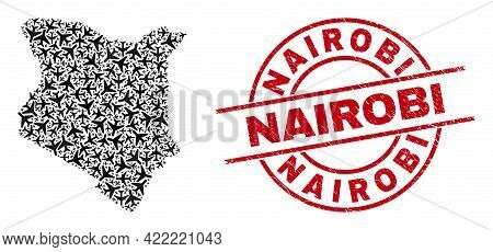 Nairobi Rubber Stamp, And Kenya Map Collage Of Aeroplane Items. Collage Kenya Map Constructed Using