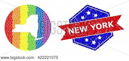 Dotted Rainbow Gradiented Map Of New York State Mosaic Designed With Circle And Subtracted Shape, An