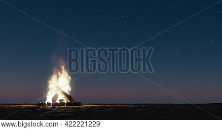 Small Bonfire On The Beach With A Starry Night With Copy Space. Bonfire Of St. John. 3d Render