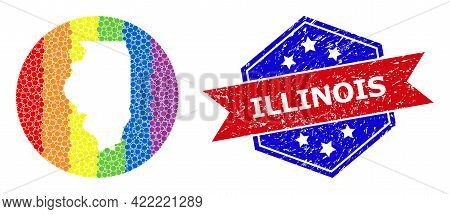 Dot Rainbow Gradiented Map Of Illinois State Collage Created With Circle And Subtracted Space, And G
