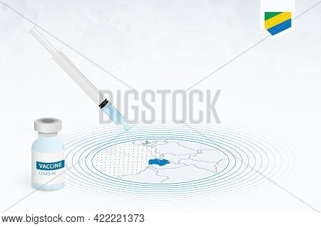 Covid-19 Vaccination In Gabon, Coronavirus Vaccination Illustration With Vaccine Bottle And Syringe