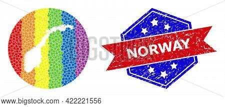 Dotted Rainbow Gradiented Map Of Norway Collage Formed With Circle And Stencil, And Textured Stamp.