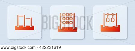 Set Tic Tac Toe Game, Horizontal Bar And Gymnastic Rings. White Square Button. Vector