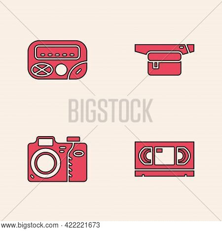 Set Vhs Video Cassette Tape, Pager, Waist Bag Of Banana And Photo Camera Icon. Vector