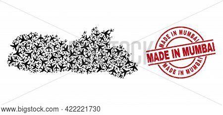 Made In Mumbai Grunge Seal, And Meghalaya State Map Collage Of Air Force Elements. Collage Meghalaya