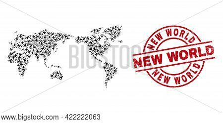 New World Scratched Stamp, And World Map Collage Of Air Force Items. Collage World Map Constructed O
