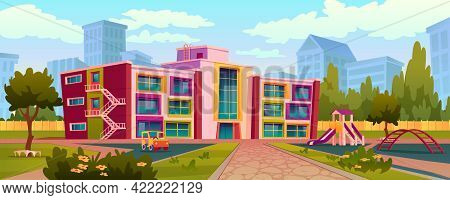 Exterior Of Kindergarten Building And Yard With Swings And Toys For Children To Play. Playground Wit