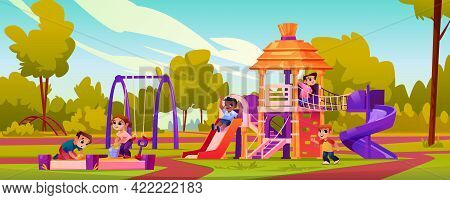 Playground With Children Playing Games Outdoors Together. Happy Childhood On Attractions And Swings.