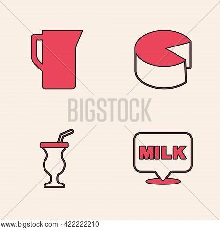 Set Lettering Milk, Milk Jug Or Pitcher, Cheese And Milkshake Icon. Vector
