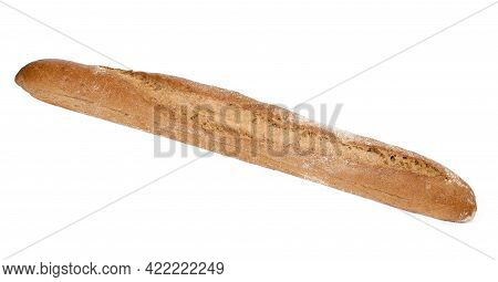 Oblong Baked Bread Baguette Isolated On White Background, Loaf Of Rye Flour