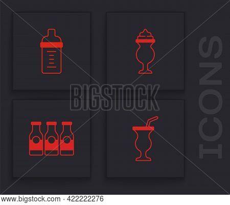 Set Milkshake, Baby Milk In Bottle, And Bottle With Icon. Vector