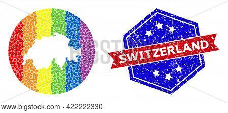 Pixelated Bright Spectral Map Of Switzerland Collage Created With Circle And Cut Out Shape, And Text
