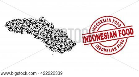 Indonesian Food Grunge Stamp, And Sumba Island Map Collage Of Aviation Items. Mosaic Sumba Island Ma