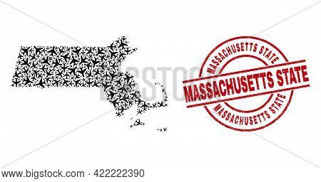 Massachusetts State Distress Stamp, And Massachusetts State Map Collage Of Jet Vehicle Items. Collag