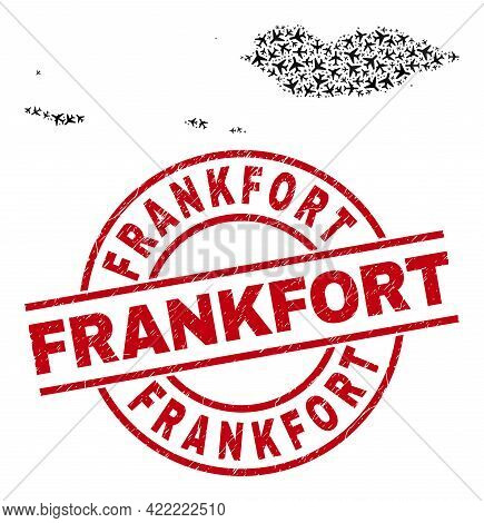 Frankfort Distress Seal Stamp, And Socotra Archipelago Map Mosaic Of Aviation Items. Mosaic Socotra