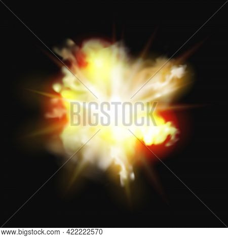 Fire Explosion, Bomb Burst Realistic 3d Effect Of Burning Fire And Smoke. Vector Fireworks, Burning