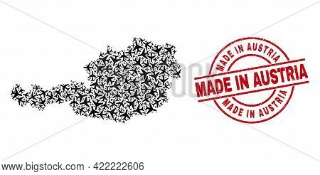 Made In Austria Grunged Stamp, And Austria Map Mosaic Of Jet Vehicle Elements. Mosaic Austria Map Cr