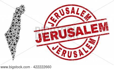 Jerusalem Grunged Badge, And Israel Map Mosaic Of Air Plane Elements. Mosaic Israel Map Created With