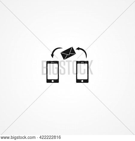 Smartphone Email Or Sms Simple Isolated Vector Icon. Smartphone Email Or Sms Simple Isolated Vector