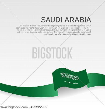 Saudi Arabia Flag Color Wavy Ribbon On A White Background. Saudi Arabia Flag Template. Business Book
