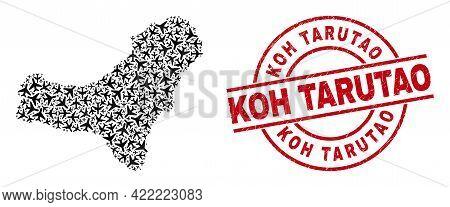 Koh Tarutao Rubber Seal Stamp, And El Hierro Island Map Mosaic Of Air Plane Items. Collage El Hierro