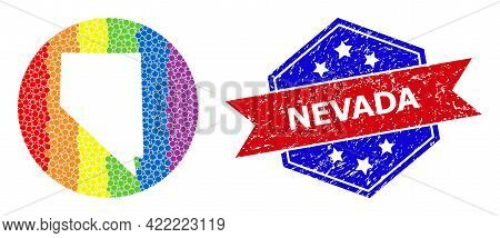 Dotted Spectral Map Of Nevada State Collage Designed With Circle And Cut Out Shape, And Textured Sta